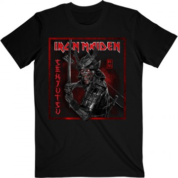 Iron Maiden Senjutsu Cover Distressed Red T-Shirt
