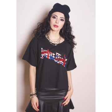 Judas Priest Union Jack Glitter Logo Boxy Style Girls T-Shirt