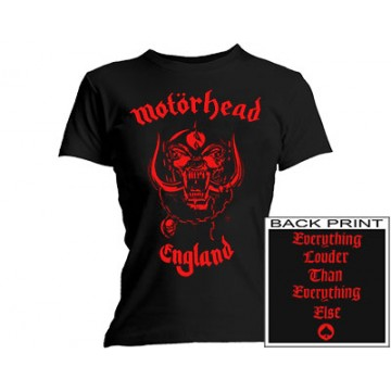 Motorhead - Red England Girls Skinny T-Shirt
